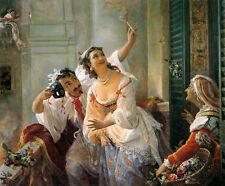 Oil painting Orlov Pimen Nikitich - Scene from the Roman carnival woman man art