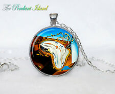 SALVADOR DALI PENDANT photo Tibet silver Cabochon glass pendant chain Necklace