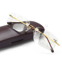 Anti-blue Light Progressive Reading Glasses Multifocal Lens Rimless Presbyopia