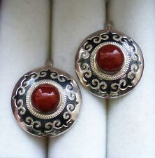 Large Russian Russia Sterling Silver 925 Niello Kubachi Red Jasper Earrings 10 g