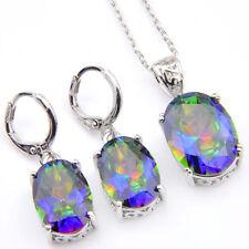 Rainbow Mystic Fire Topaz Gemstone Silver Necklace Pendants Jewelry set