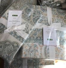 Pottery Barn Meagan Duvet Cover Set Blue Green Queen 2 Standard Shams Paisley