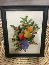 Vintage Crewel Embroidery Finished Framed Fruits Christmas Home Wall Decor