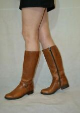 Clarks Women Casual Boots Knee High Tan Flat Low Block Heel Real Leather Size 5