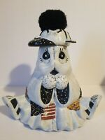 Vintage Halloween Handpainted Ceramic Ghost Wearing Tennis Shoes Spider Hat 10""