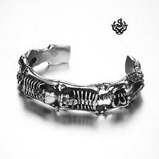 Silver skull bangle stainless steel boys women cuff bracelet