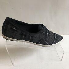 Sanuk Kat Paw TX Casual Slip-On Shoes Pointed Toe Black Plaid Women's Size US 7