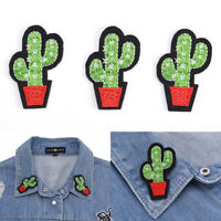 3pcs Cactus Embroidery Fabric Applique Iron/Sew on Patches For Clothing New Jy