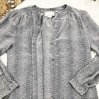 Cynthia Rowley 100% SILK Women's Sz M Medium Long Sleeve Snake Print Top Blouse