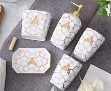 5pcs Fashion Gold Decorative Bathroom accessories set Soap dish Dispenser Latest