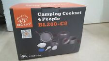 Bulin Camping Cookware Mess Kit, Nonstick Backpacking Cooking Set, Outdoor