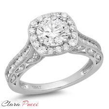 1.95 CT Round Cut Halo Wedding Engagement Bridal Ring Band 14k White Gold