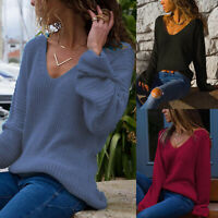 Womens Loose V Neck Long Sleeve Knit Jumper Sweater Casual Pullover Blouse Tops
