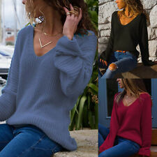 Womens Baggy V Neck Knit Sweater Loose Casual Long Sleeve Jumper Pullover Tops