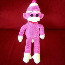 Ty SOCKS THE SOCK MONKEY Pink Cream Quilted 16in Plush Animal 2013 Button Eyes
