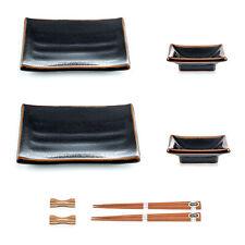 Japanese Sushi Plate Set with Sauce Dishes in Black Tenmoku Glazed Ceramic