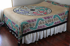 Handmade 100% Cotton Celtic Wheel of Life Tapestry Tablecloth Spread Tan King