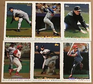 1995 TOPPS CYBERSTATS FOIL PARALLEL BASEBALL 6 CARD LOT #180,201,207,211,214,363
