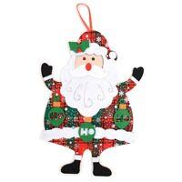 Felt Merry Christmas Red and Green Plaid Santa Claus Tree Ornament Wall Décor