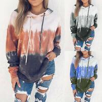 Women Autumn Gradient Long Sleeve Hooded Coat Tops Hoodies Pullover Sweatshirt