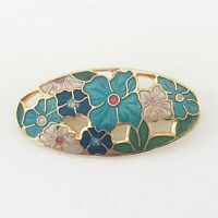 VINTAGE ENAMEL GOLD TONE BLUE GREEN PINK FLOWERS LADIES PIN BROOCH by SEA GEMS