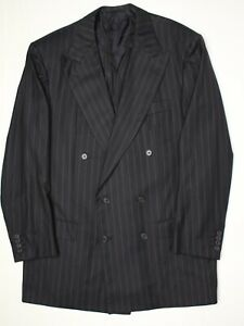 Kiton Napoli Mens Double Breasted Suit Coat 42L Midnight Blue Stripe Wool Jacket