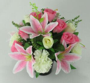 Mothers day Artificial flower pot Arrangement in grave/memorial Crem Pot