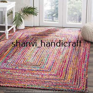 Jute & Cotton Braided Rug Rectangle 5x9 Feet Rug Home Decor Carpet Area Rugs Mat