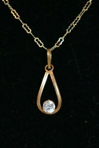 """Vintage 0.25 CT Genuine Diamond 14K Yellow Gold Necklace 18"""" Chain On Sale"""