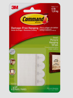 3M Command White Foam 8 pk Picture Hanging Strips 4 Pair Holds 4LBS 17202-ES
