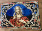 """Vintage Jesus Sacred Heart Tapestry Wall Hanging 46"""" by  70 ***RARE!!!***"""