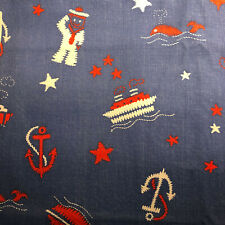 Vintage - By 1/2 yard - 70's Anchor Sailor Blue FABRIC V21