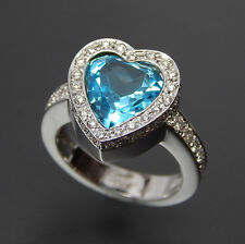 18KT HANDCRAFTED WHITE GOLD BLUE TOPAZ AND 1.45 CTW DIAMONDS HEART RING SIZE 7