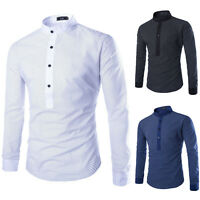Men's Luxury Slim Fit Long Sleeve Double Collar Casual Formal Tops T-Shirt Dot