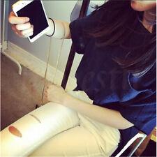 Women Short Sleeve Round Neck T-shirt Cotton Linen Casual Loose Blouse Tops Blue