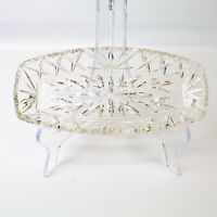 Vintage Clear Crystal Glass Long Scalloped Edge Dish Bowl