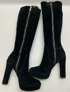 MICHAEL KORS Knee High Tall Side Zip Black Suede Heeled Platform Boots Size 8