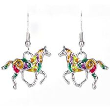 Bright silver white gold plated multi color horse shape drop dangle earrings