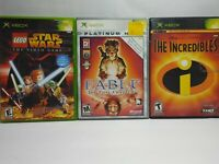 Gen 1 Xbox Video Game Lot Lego Star Wars Fable Lost Chapters Incredibles Tested