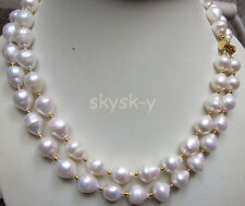 2 row 11-13mm AAA++ natural white Australian south sea pearl necklace 14K 19-20""