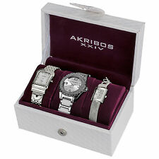New Women's Akribos XXIV AK600SS Elegant Silver-tone Diamond Bracelet Watch Set