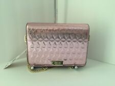 NWT-MICHAEL KORS JADE SOFT PINK METALLIC LEATHER GUSSET CLUTCH/CROSSBODY~$228
