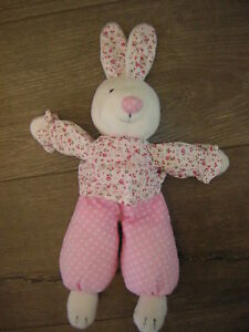 JELLYCAT WHITE BUNNY RABBIT FLORAL TOP AND EARS SPOTTY TROUSERS SOFT TOY