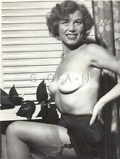 Original Vintage 1940s-60s Nude RP- Older Woman- Suntanned- Stockings- Panties