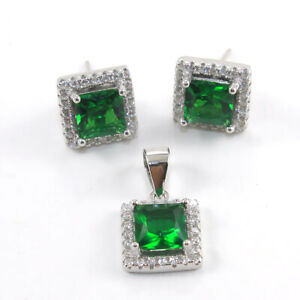 925 Sterling Silver Green Stone with Cubic Zircon Pendant with Earring Set 4.5gm