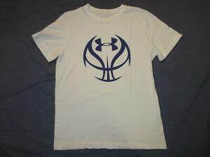 Boys UNDER ARMOUR White Tee Shirt w/ BASKETBALL Logo - Youth Medium - Loose Fit