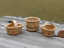 OLD VTG MINIATURE ARTISAN HAND WOVEN WICKER GRASS SET OF 3 BASKETS TWO W/ HANDLE