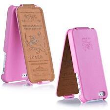 Pcaro® Echtleder Tasche für iPhone 5 / 5S Hülle Back Cover Case Etui Raues Rosa