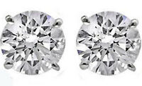 Round Cut 2 carat 14k White Gold Sterling Silver Solitaire Stud Earrings
