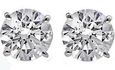 Round Cut 2 carat 14k White Gold Sterling Silver Solitaire Stud Earrings New